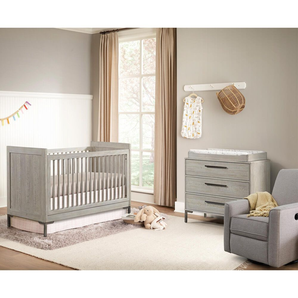Eastern Shore Beck Convertible Raised End Panels Crib in Willow , , large