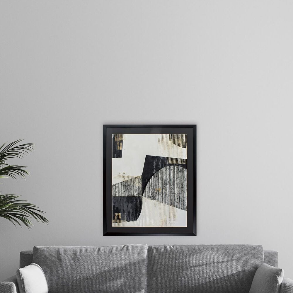 """Propac """"Black and Gold Lines I"""" Wall Art in Black & White, , large"""