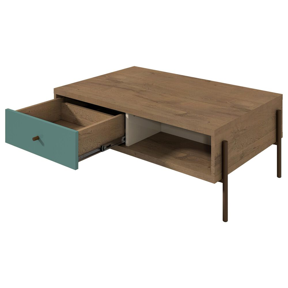 Dayton Joy 2-Drawer Coffee Table in Blue, , large