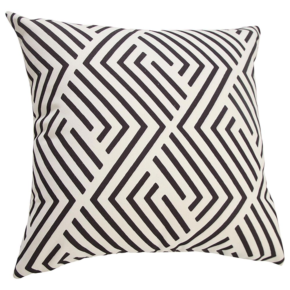 """L.R. RESOURCES 20"""" x 20"""" Outdoor Pillow in White and Black, , large"""