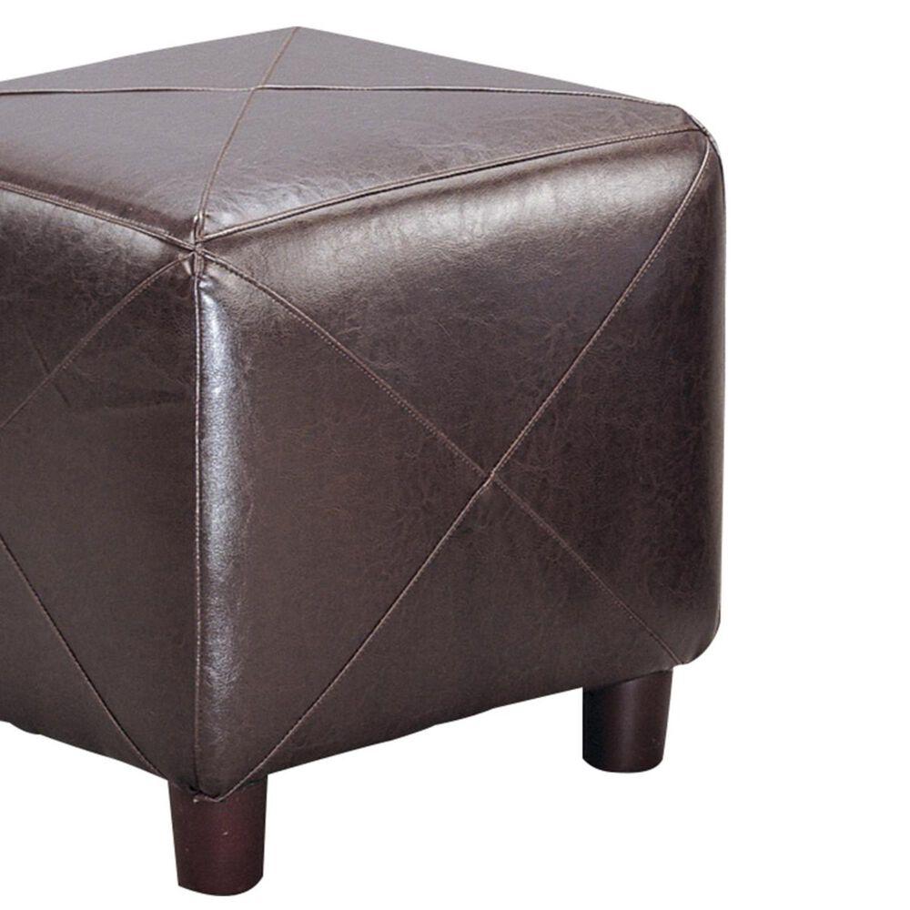 Pacific Landing Brown Vinyl Cube Ottoman, , large