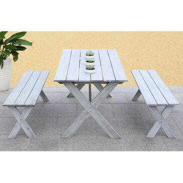 Safavieh Marina 3-Piece Picnic Table Dining Set in Grey Wash, , large