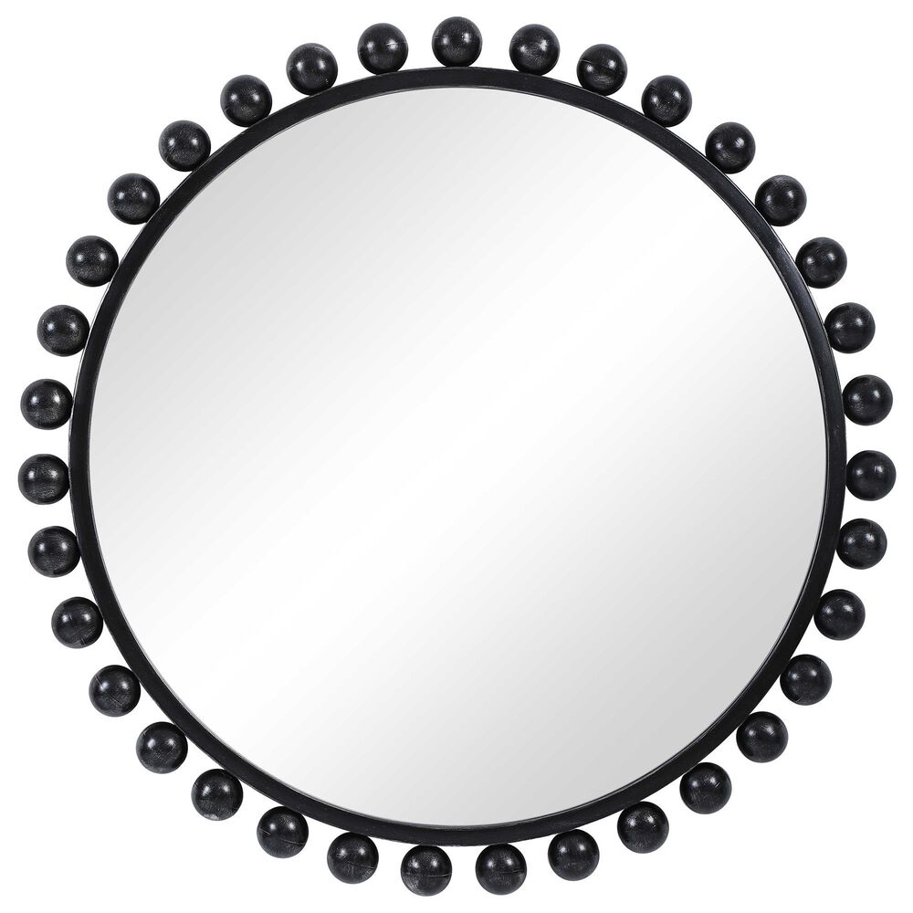 Uttermost Cyra Round Accent Wall Mirror in Distressed Black, , large