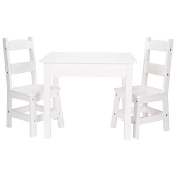 Melissa & Doug Wooden Table and 2 Chairs in White, , large