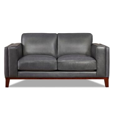 Back Nine Leather Avon Loveseat in Steel Blue, , large