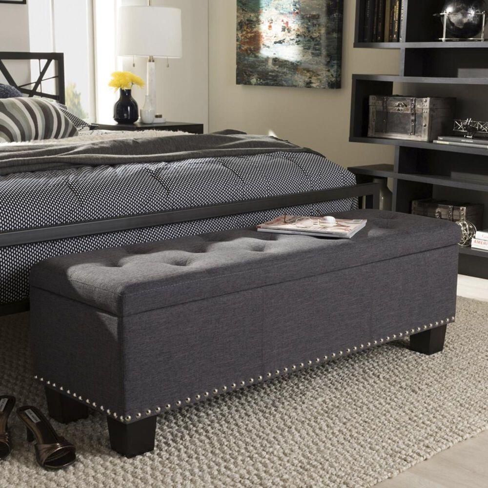 Baxton Studio Hannah Upholstered Storage Ottoman Bench in Dark Grey, , large