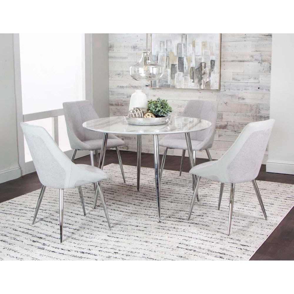 Penny Lane Idina Side Chair with Light Gray Cushion in Chrome, , large
