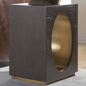 Artistica Metal Verbatim Rectangular End Table in Rich Brown and Antiqued Brass, , large