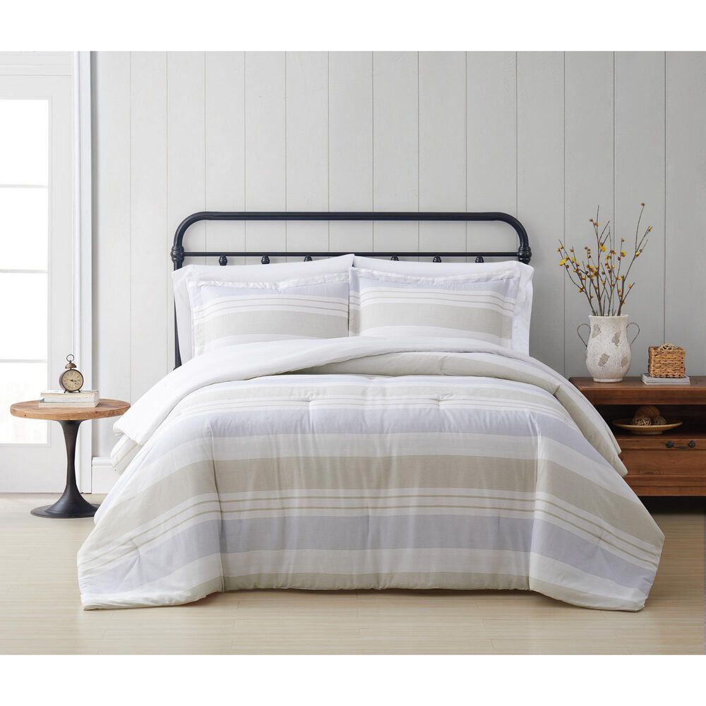 Pem America Cottage Classics Spa 3-Piece Full/Queen Comforter Set in Blue and Tan, , large