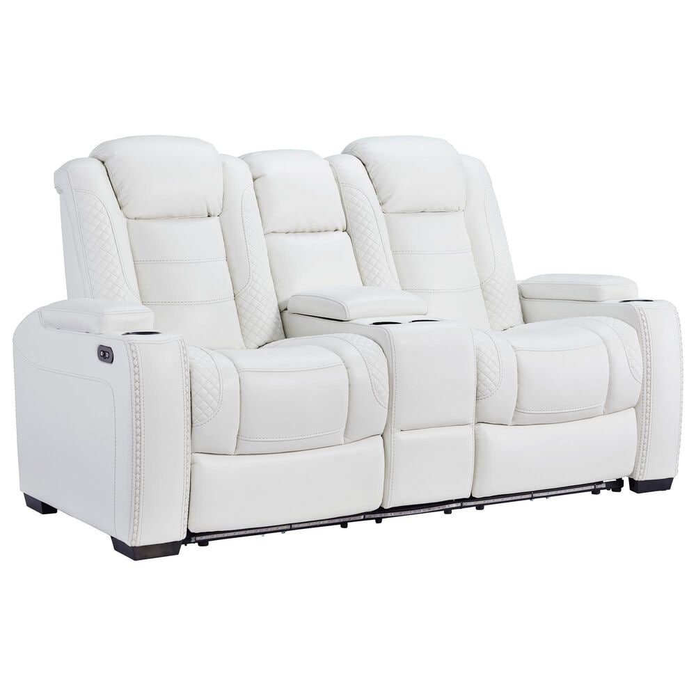 Signature Design by Ashley Party Time Power Reclining Console Loveseat with Power Headrest in White, , large