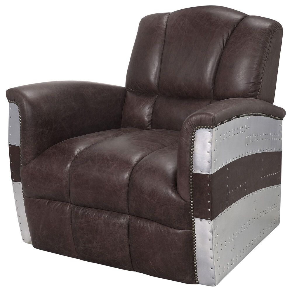 Gunnison Co. Brancaster Accent Chair in Retro Brown Leather and Aluminum, , large