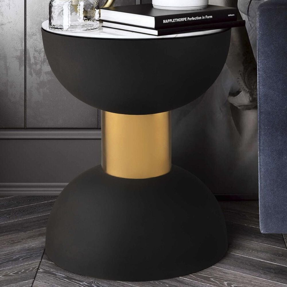 Tov Furniture Taper Side Table in Black and Gold, , large