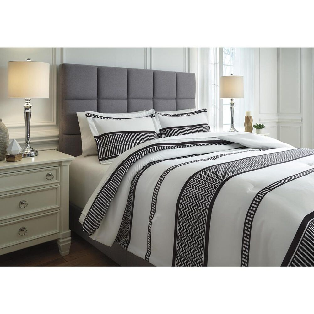 Signature Design by Ashley Masako Queen Comforter Set in Black and Cream, , large