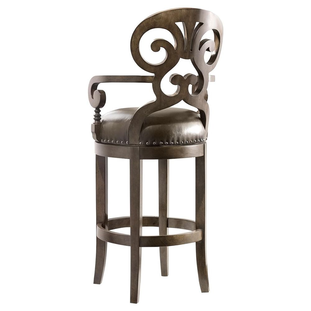 Hooker Furniture Decorator Jameson Leather Barstool with Imperial Regal Seat, , large