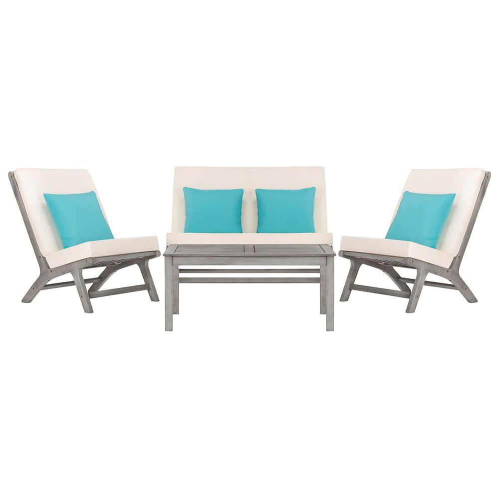 Safavieh Chaston 4-Piece Outdoor Living Set in Grey Wash, White, and Light Blue, , large