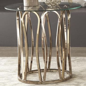 Scott Living Round End Table in Chocolate Chrome, , large