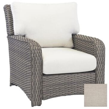 Serenity St Tropez Wicker Chair with Cast Silver Cushion in Stone, , large