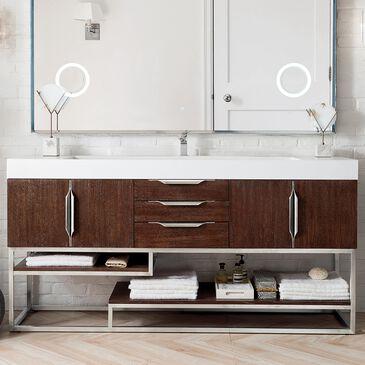 "James Martin Columbia 72"" Single Bathroom Vanity Cabinet in Coffee Oak and Brushed Nickel, , large"