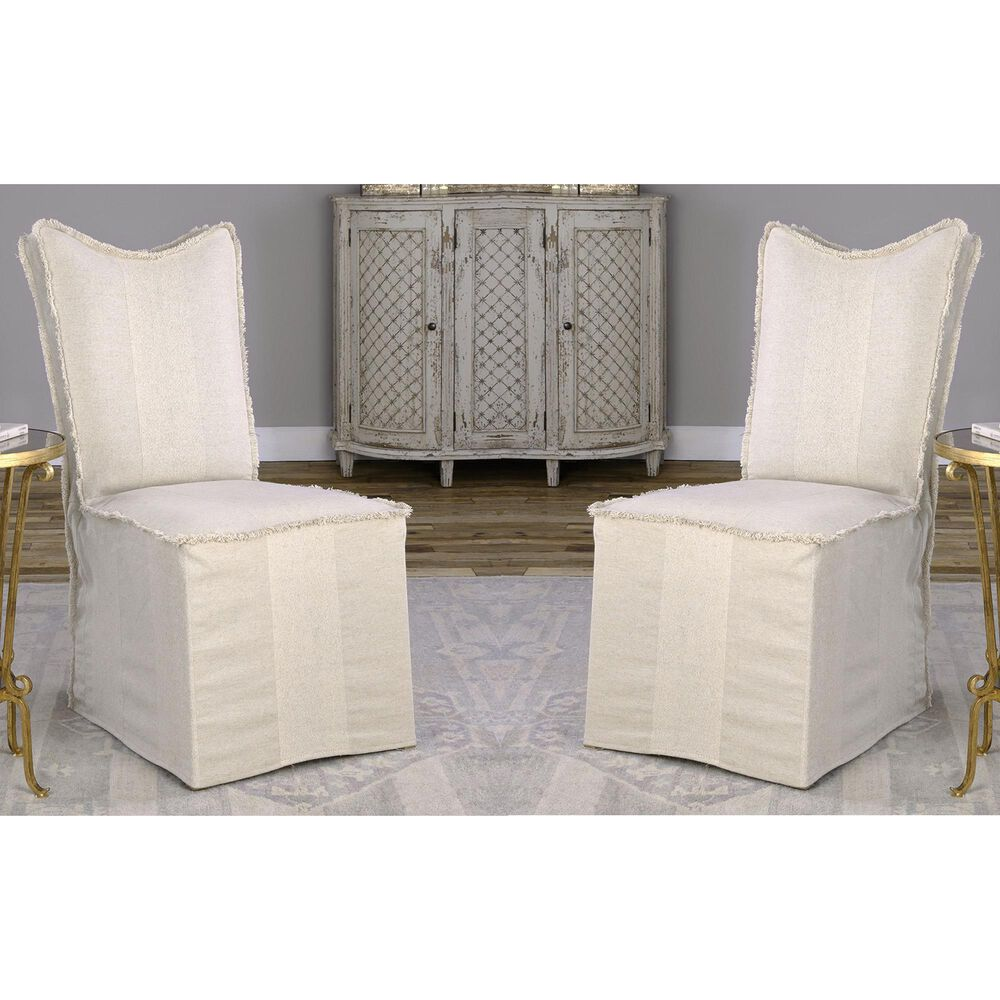 Uttermost Lenore Armless Chair Set of Two in Light Tan, , large