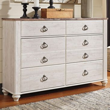 Signature Design by Ashley Willowton 6 Drawer Dresser in White Washed Finish, , large