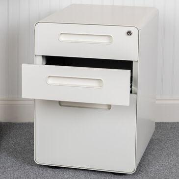 Flash Furniture 3-Drawer Mobile File in White, , large