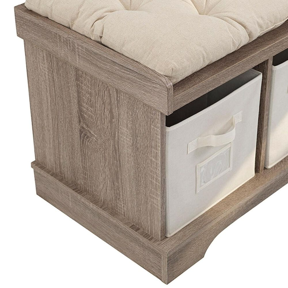 """Walker Edison 42"""" Entryway Storage Bench in Driftwood, , large"""