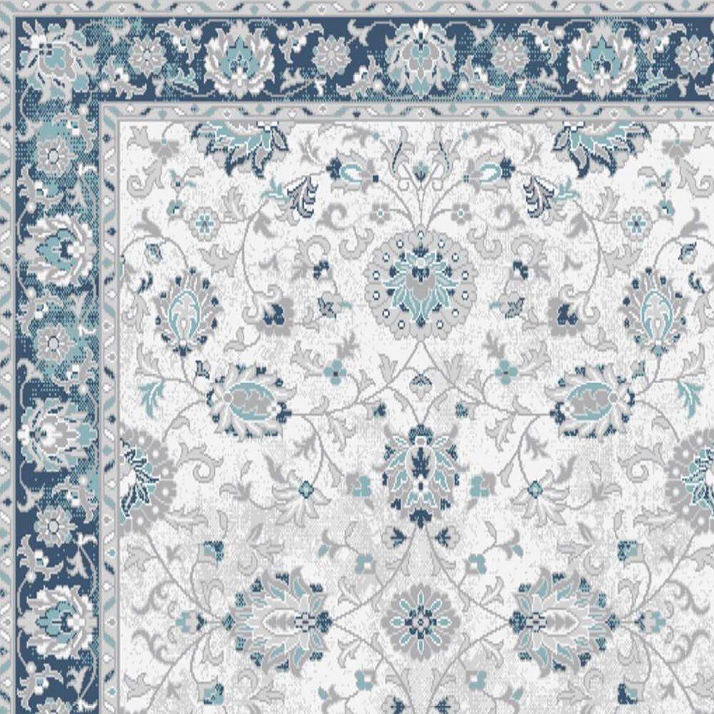 "Central Oriental Sientan Simpia 2523.259 7'10"" x 9'10"" Cream and Dark Blue Area Rug, , large"