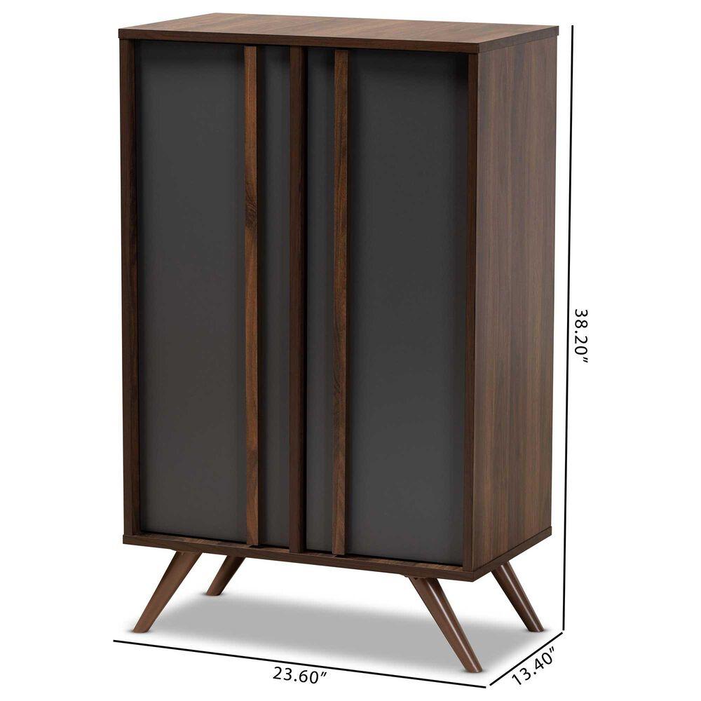 Baxton Studio Naoki 2-Door Shoe Cabinet in Grey and Walnut, , large