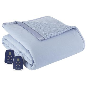 Shavel Home Products Sherpa Reverse Full Electric Heated Blanket in Wedgewood, , large