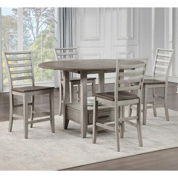 Steve Silver Abacus 5-Piece Counter Height Dining Set in Smoky Alabaster and Smoky Honey, , large