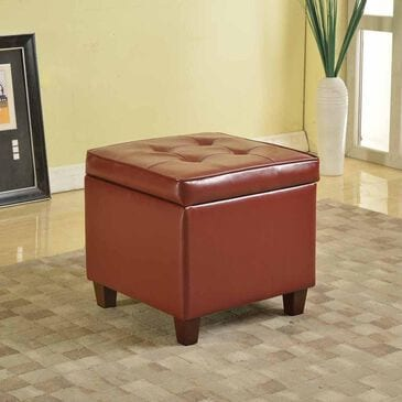 Kinfine Tufted Square Ottoman in Dark Red, , large