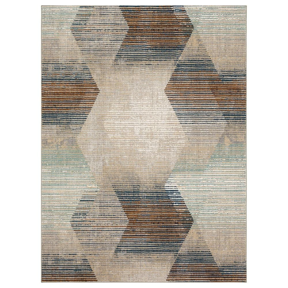 "Karastan Epiphany Precarious Stria 5'3"" x 7'10"" Frost Grey Runner, , large"