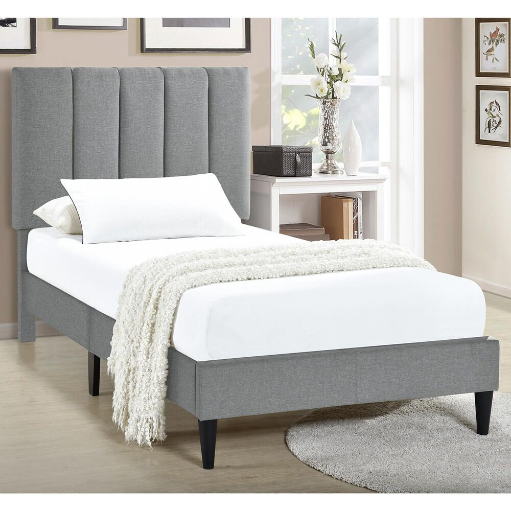 Accentric Approach Twin Platform Bed in Gray, , large
