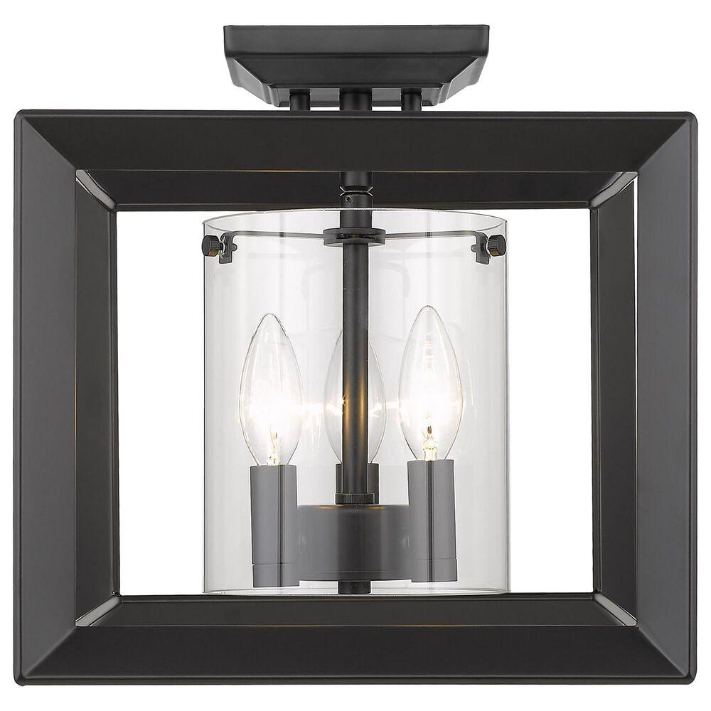 """Golden Lighting Smyth 12"""" Semi-Flush in Matte Black, , large"""