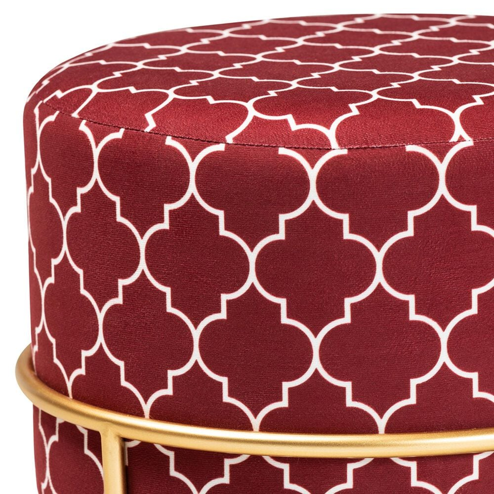 Baxton Studio Candice Ottoman in Red/Gold, , large