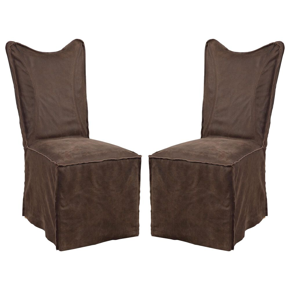 Uttermost Delroy Armless Chair Set of Two in Dark Brown, , large