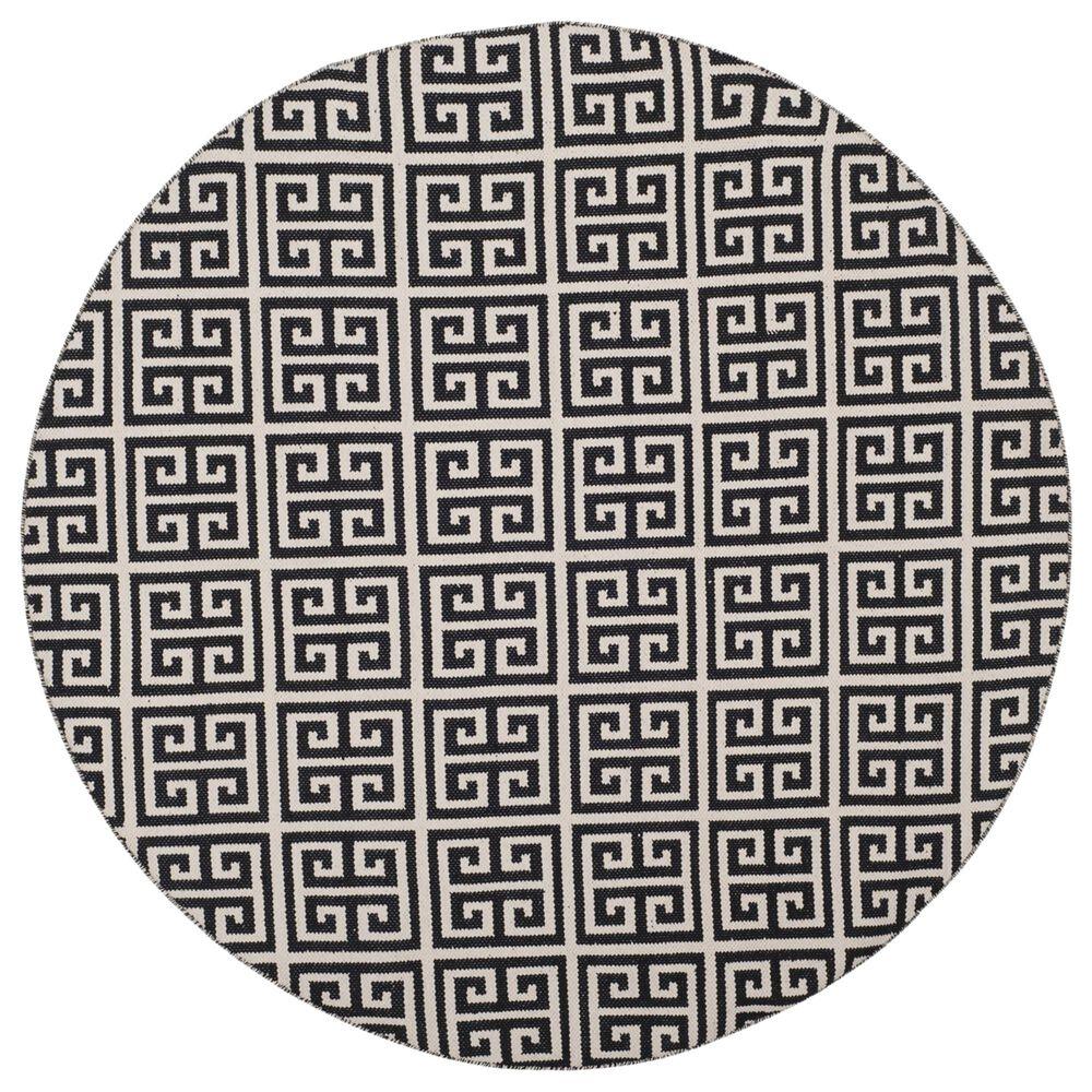 Safavieh Montauk 6' Round Black and Ivory Area Rug, , large