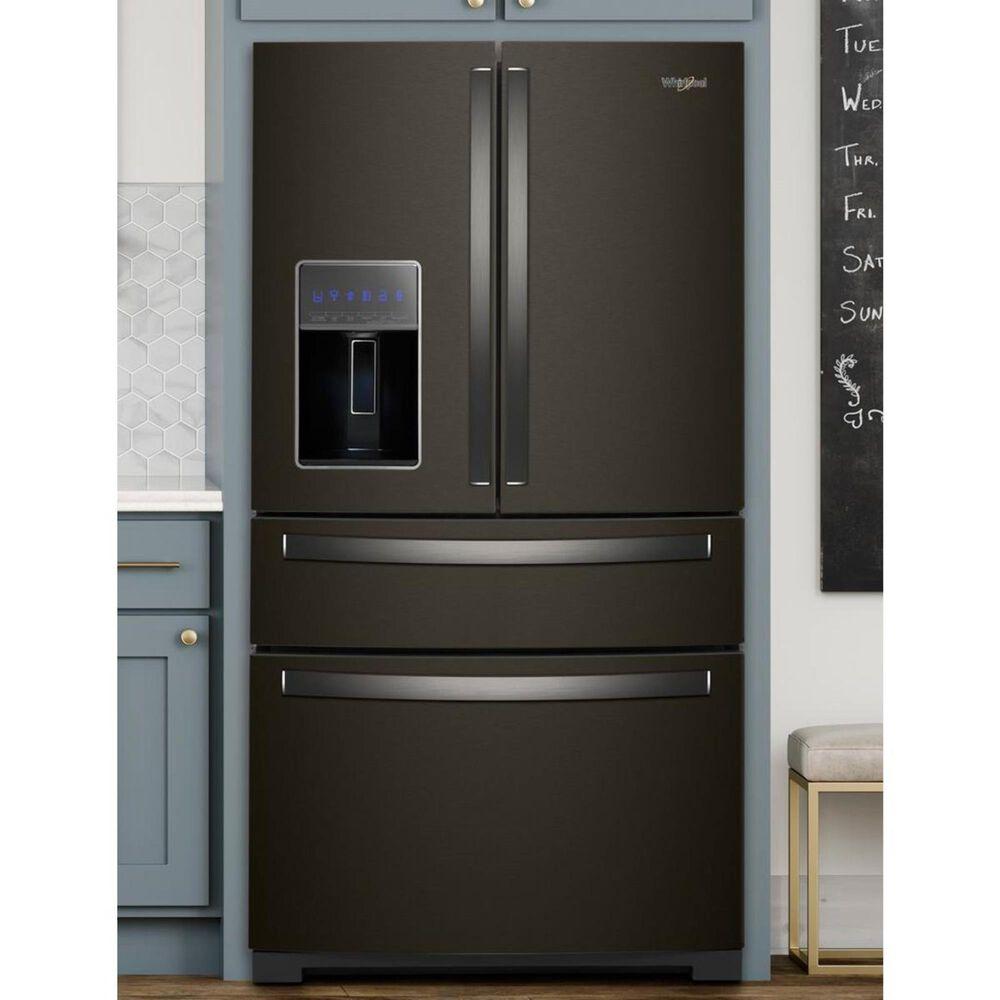 "Whirlpool 26 Cu. Ft. 36"" Wide 4-Door French Door Refrigerator with Exterior Drawer in Fingerprint Resistant Black Stainless, , large"