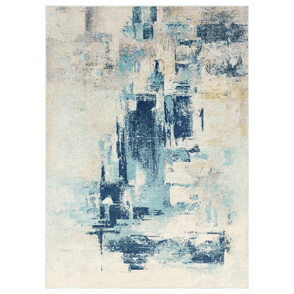 "Surya Bodrum 5'3"" x 7'3"" Ivory, Gray, Navy and Aqua Area Rug, , large"