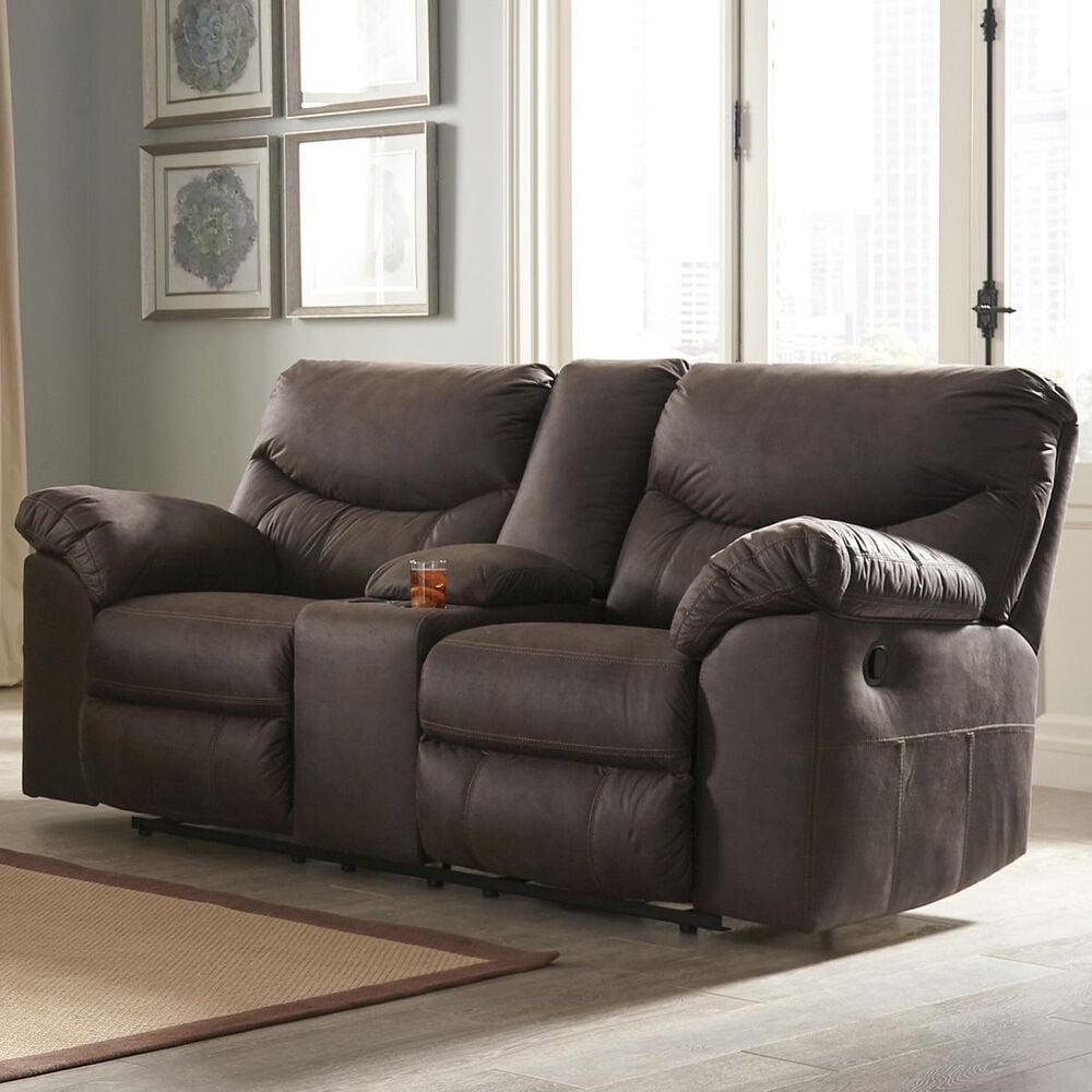 Signature Design by Ashley Boxberg Manual Double Reclining Loveseat with Console in Teak, , large