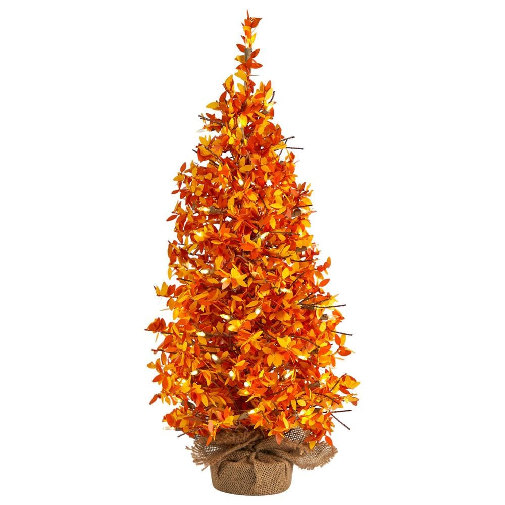 Nearly Natural Inc 2ft. Harvest Halloween Artificial Christmas Tree Pre-Lit with 50 LED lights in Burlap Base, , large