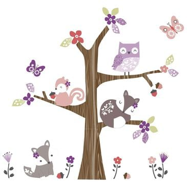 Lambs and Ivy Lavender Woods Wall Appliques in Lavender and White, , large