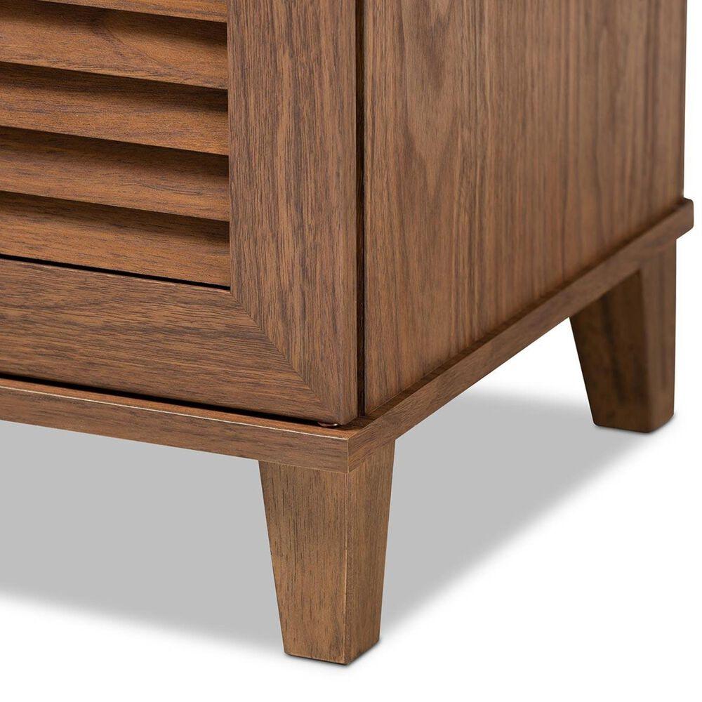 Baxton Studio Coolidge 4-Shelf Shoe Storage Cabinet in Walnut, , large