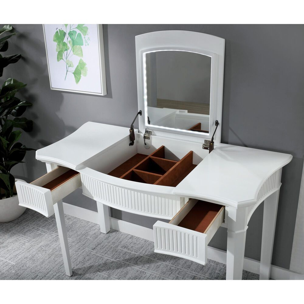 Furniture of America Conner 3 Piece Vanity Set in Ivory, , large