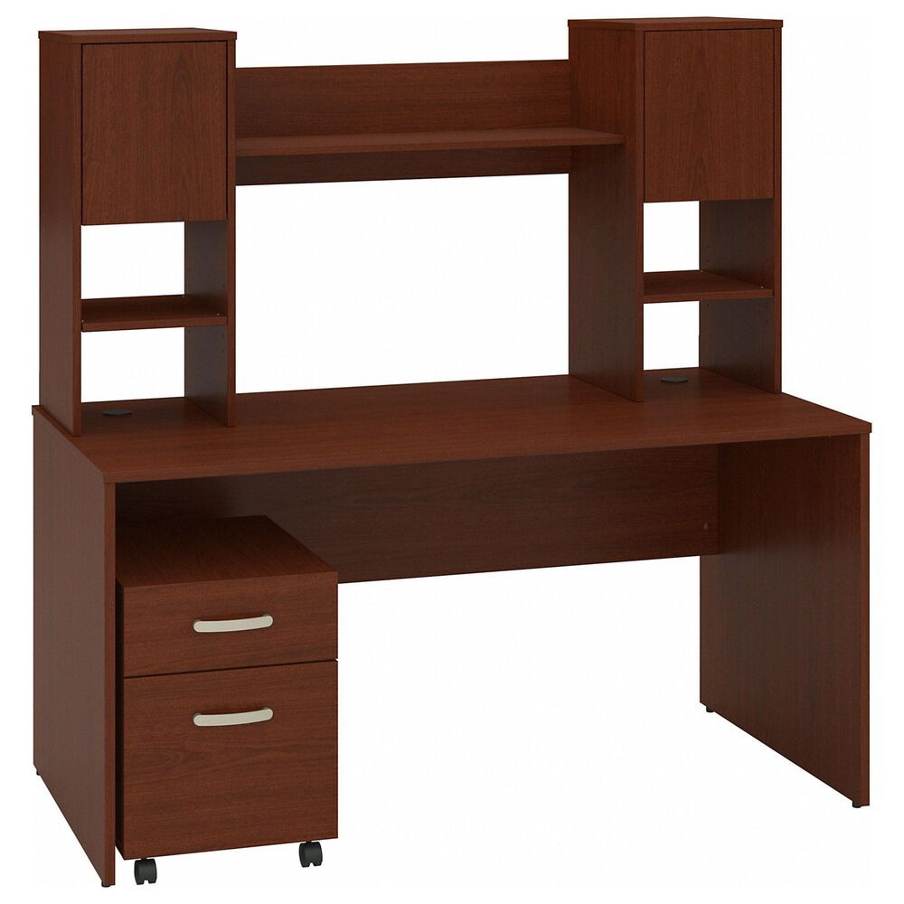 Bush Contemporary 3-Piece Office Desk Set in Autumn Cherry and Dark Wood , , large