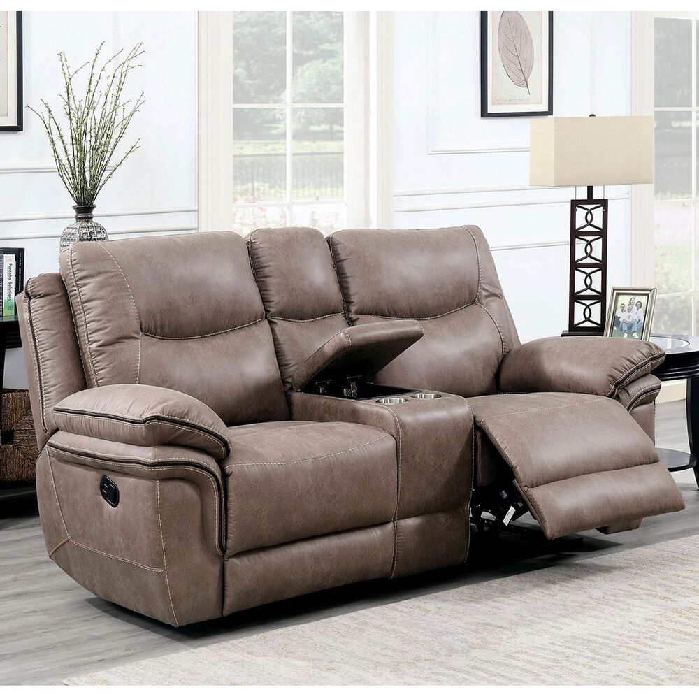 Crystal City Isabella Manual Reclining Loveseat with Console in Sand, , large