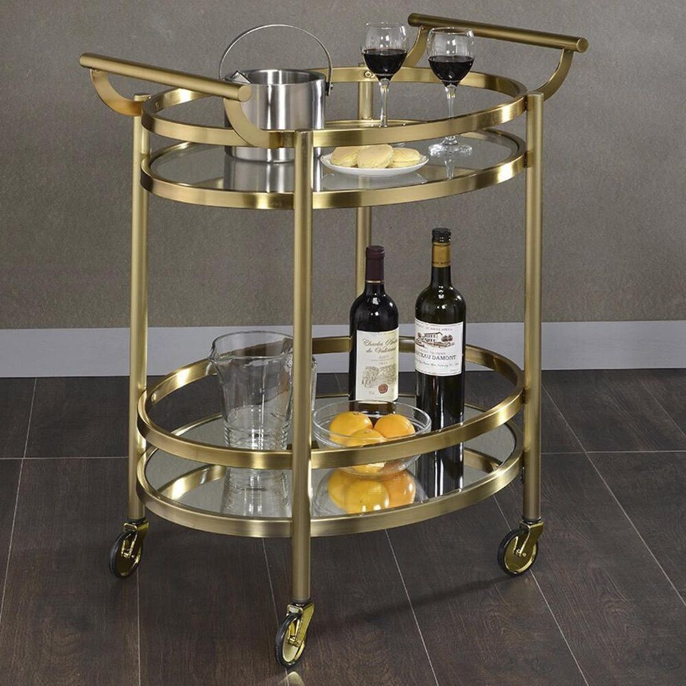 Gunnison Co. Lakelyn Serving Cart in Gold & Clear Glass, , large