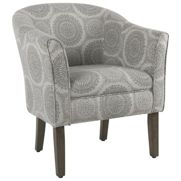 Kinfine Tub Shaped Accent Chair in Grey Medallion, , large