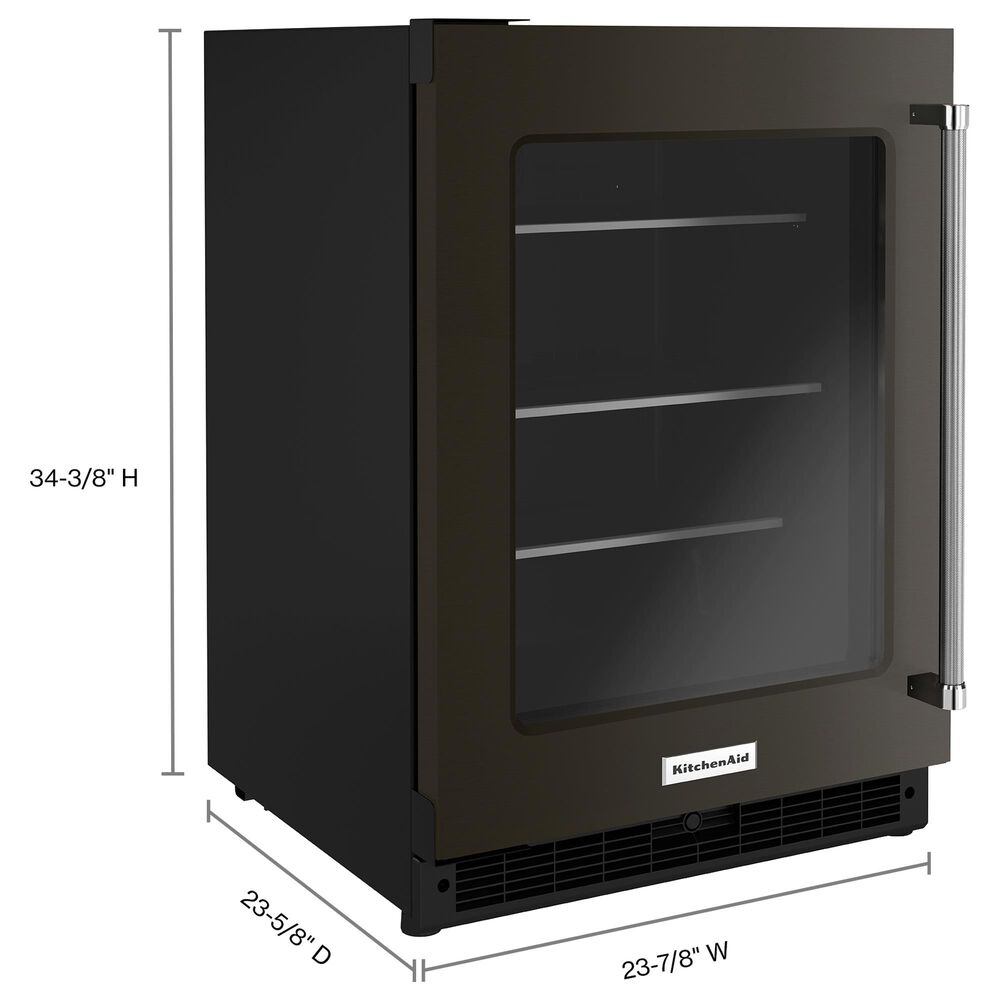 """KitchenAid 24"""" Undercounter Refrigerator with Glass Door and Shelves in Black Stainless Steel, , large"""
