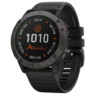 Garmin Fenix 6X Pro Solar Smartwatch 51 mm in Titanium Carbon Gray and Black Band with Music, Maps, and Wi-Fi, , large